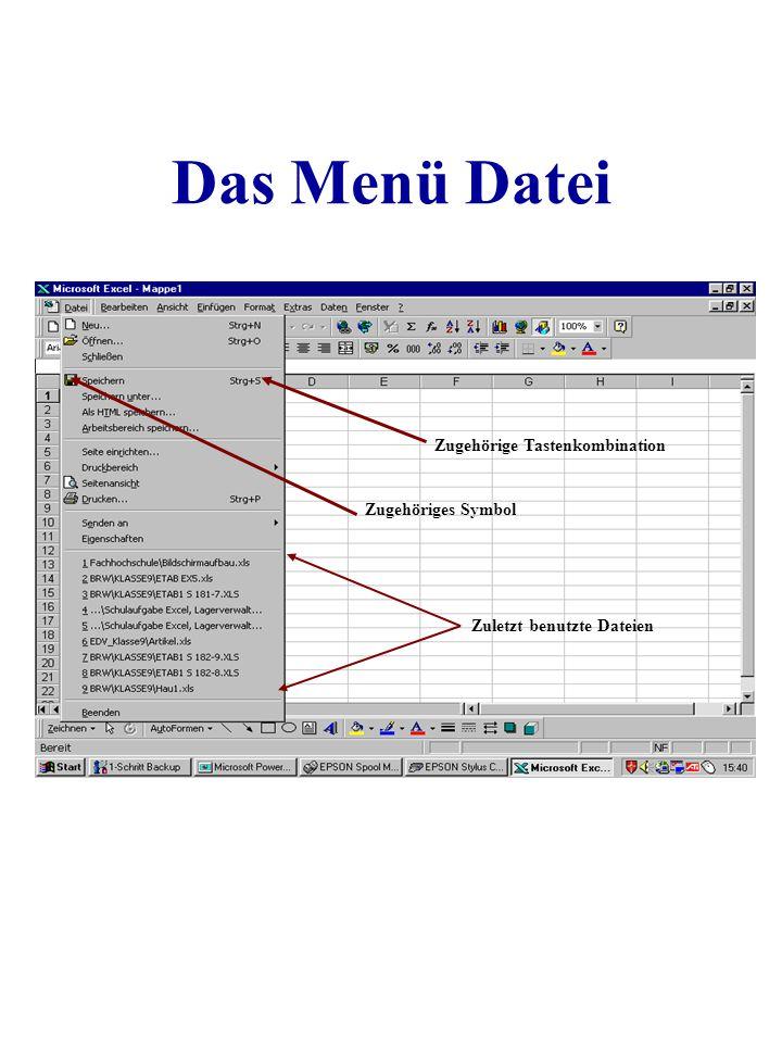 Das Menü Datei Zugehörige Tastenkombination Zugehöriges Symbol