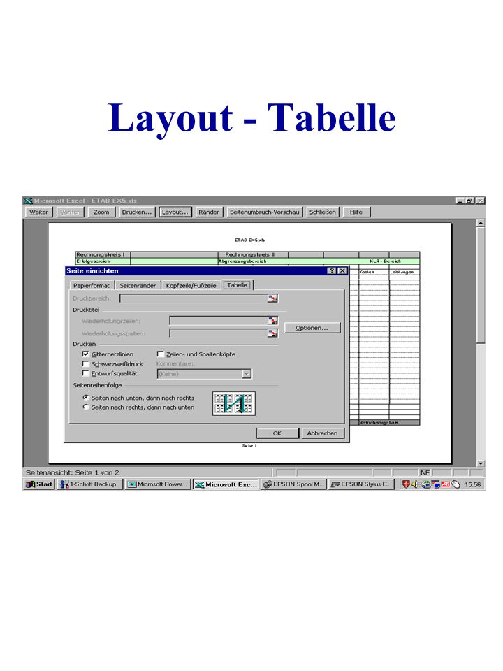 Layout - Tabelle
