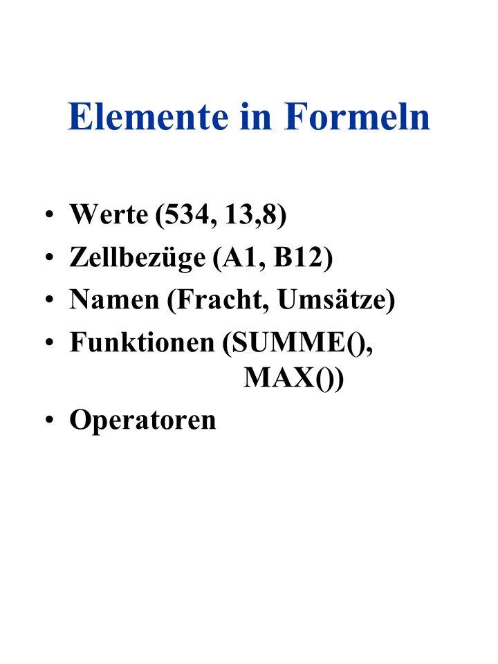 Elemente in Formeln Werte (534, 13,8) Zellbezüge (A1, B12)