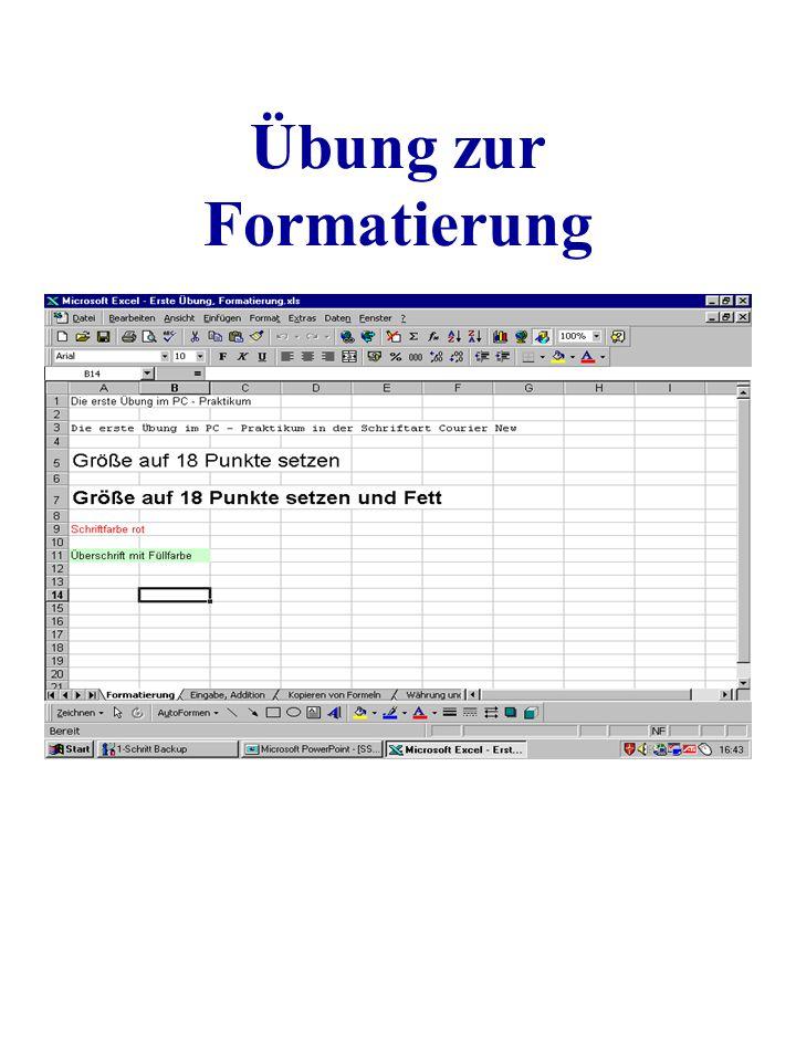 Übung zur Formatierung