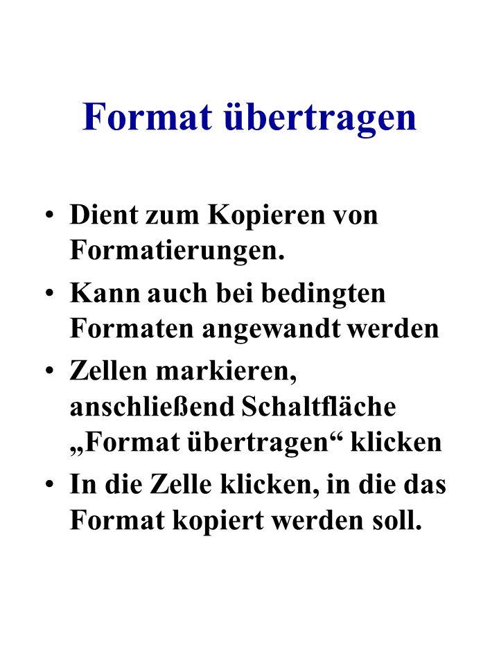 Format übertragen Dient zum Kopieren von Formatierungen.