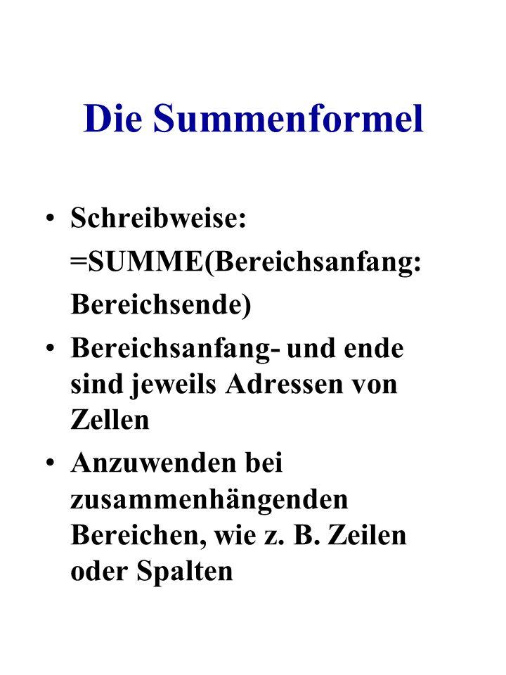Die Summenformel Schreibweise: =SUMME(Bereichsanfang: Bereichsende)