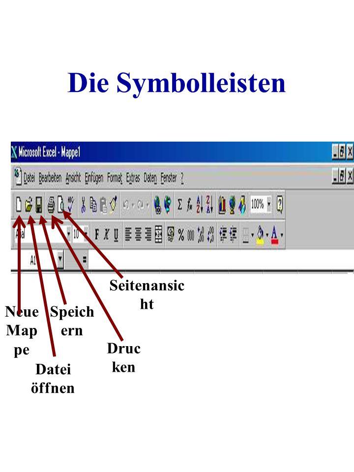 Die Symbolleisten Seitenansicht Neue Mappe Speichern Drucken
