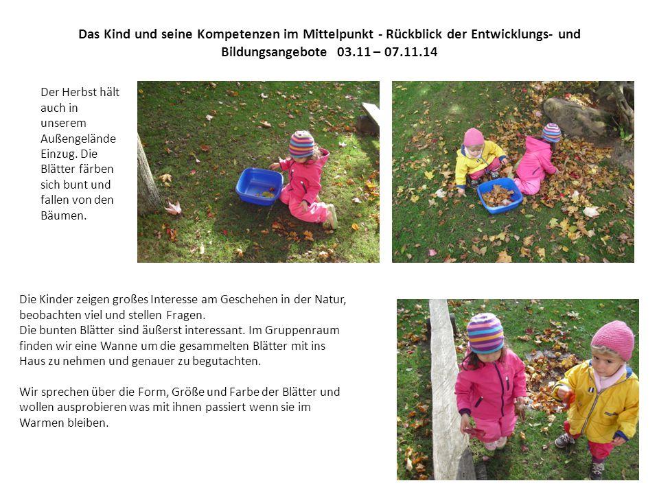 Das Kind und seine Kompetenzen im Mittelpunkt - Rückblick der Entwicklungs- und Bildungsangebote 03.11 – 07.11.14
