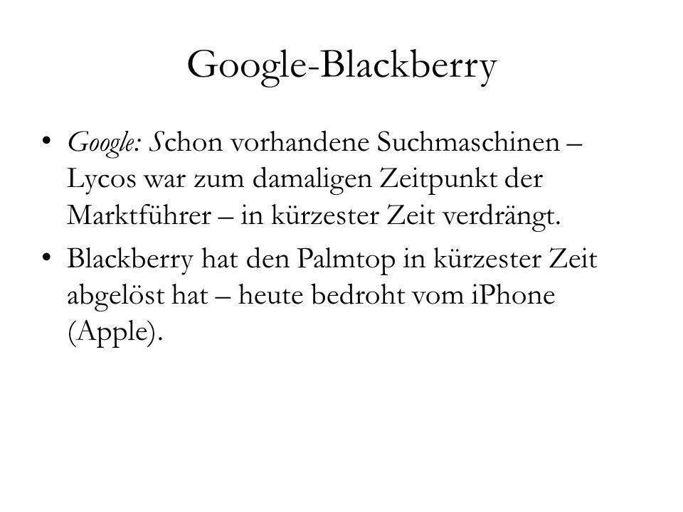 Google-Blackberry Google: Schon vorhandene Suchmaschinen – Lycos war zum damaligen Zeitpunkt der Marktführer – in kürzester Zeit verdrängt.