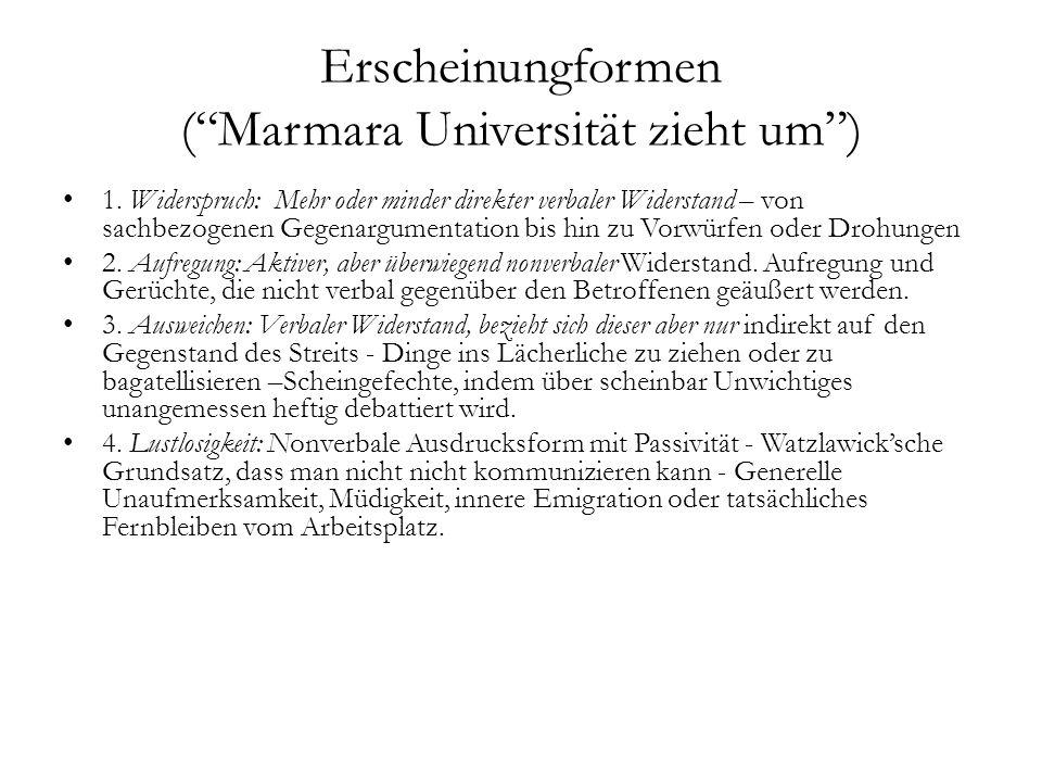 Erscheinungformen ( Marmara Universität zieht um )