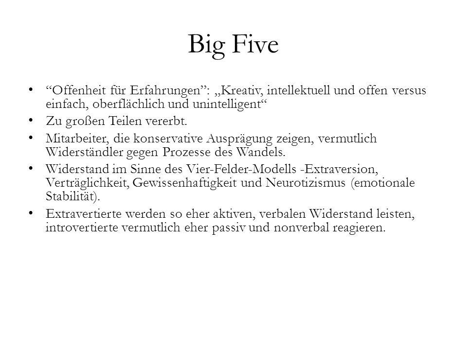 """Big Five Offenheit für Erfahrungen : """"Kreativ, intellektuell und offen versus einfach, oberflächlich und unintelligent"""