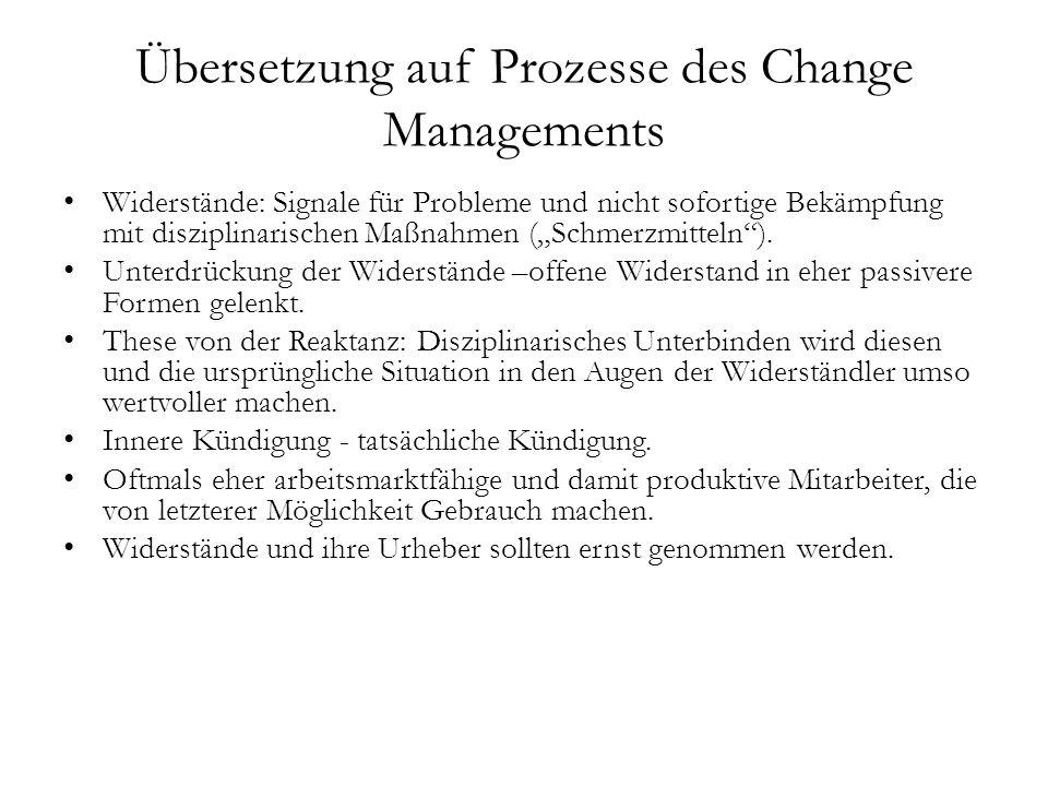 Übersetzung auf Prozesse des Change Managements