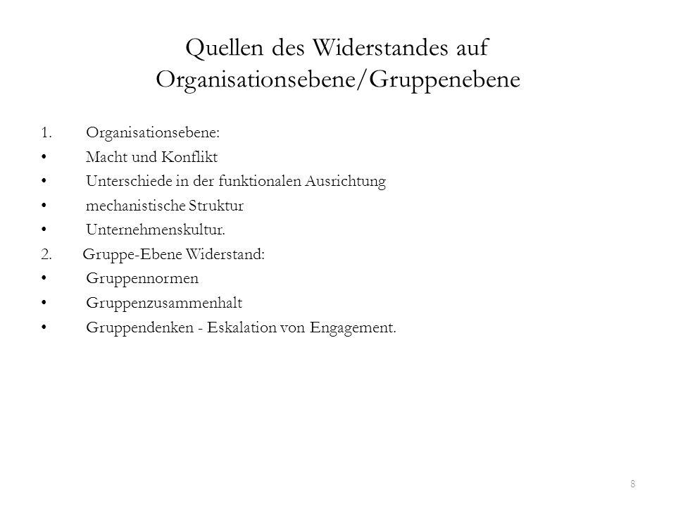 Quellen des Widerstandes auf Organisationsebene/Gruppenebene