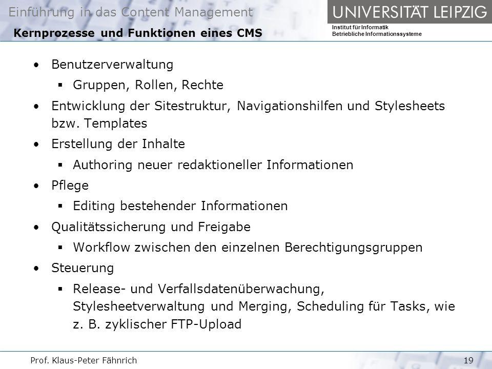 Kernprozesse und Funktionen eines CMS