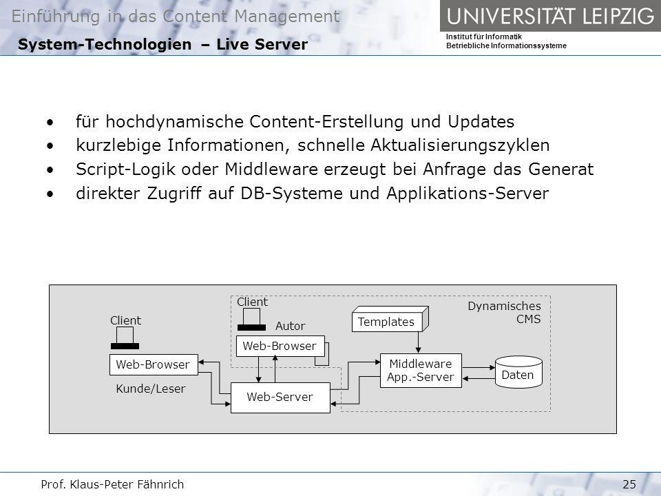 System-Technologien – Live Server