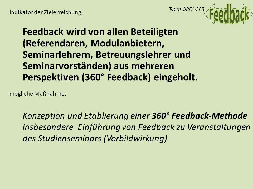 Feedback wird von allen Beteiligten (Referendaren, Modulanbietern, Seminarlehrern, Betreuungslehrer und Seminarvorständen) aus mehreren Perspektiven (360° Feedback) eingeholt.