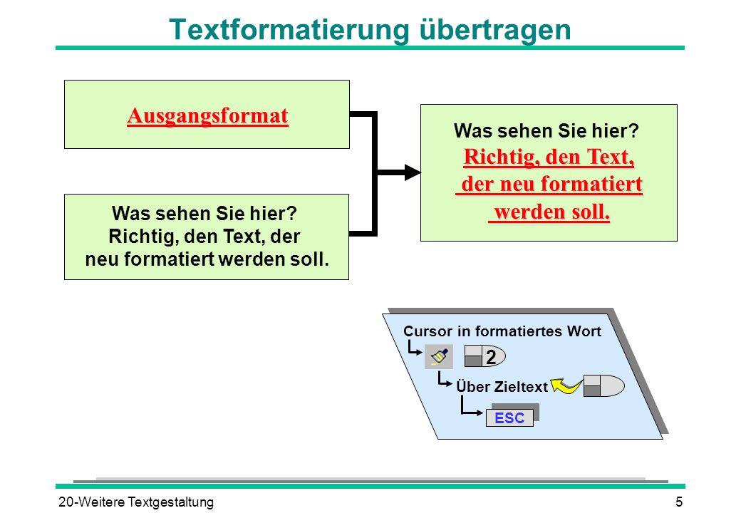 Textformatierung übertragen