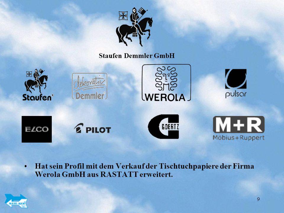 Staufen Demmler GmbH Hat sein Profil mit dem Verkauf der Tischtuchpapiere der Firma Werola GmbH aus RASTATT erweitert.