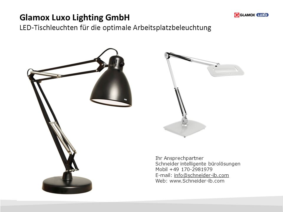 Glamox Luxo Lighting GmbH LED-Tischleuchten für die optimale Arbeitsplatzbeleuchtung