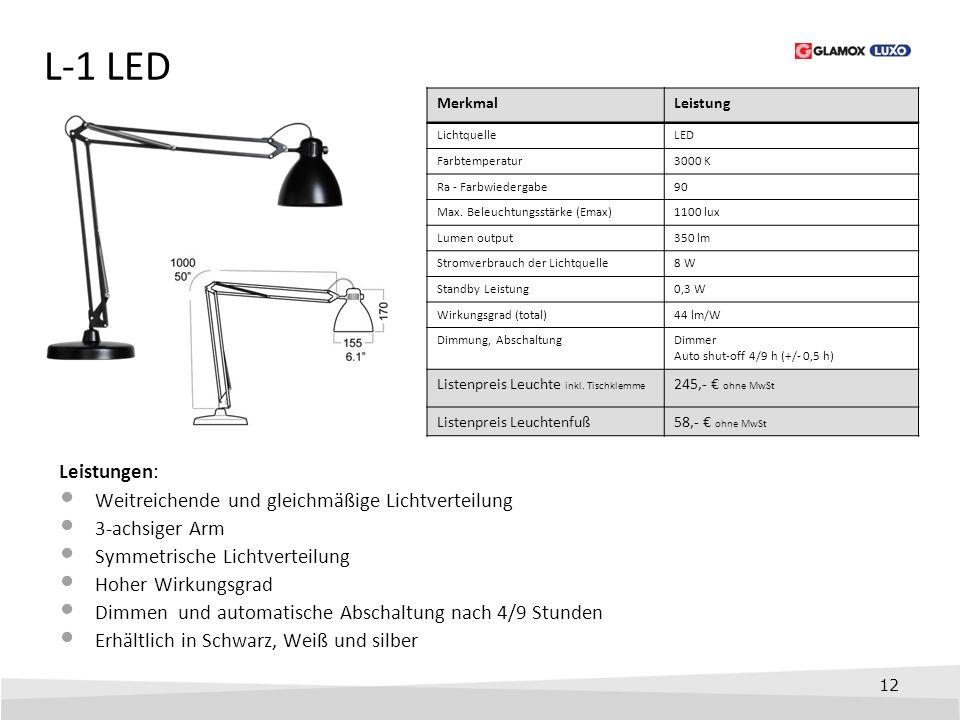 L-1 LED Leistungen: Weitreichende und gleichmäßige Lichtverteilung