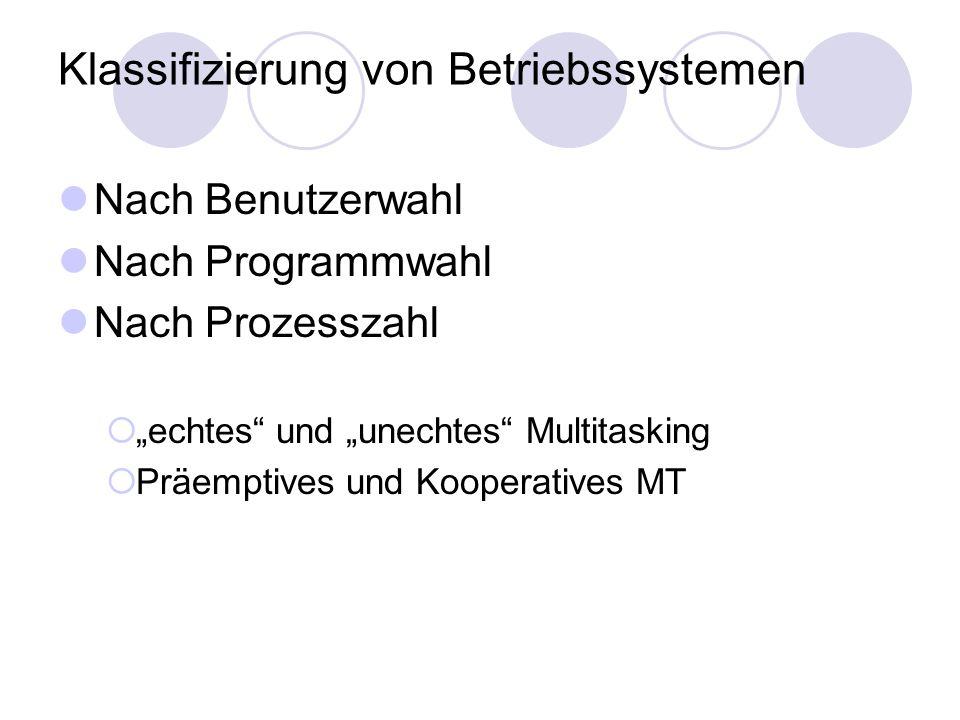 Klassifizierung von Betriebssystemen