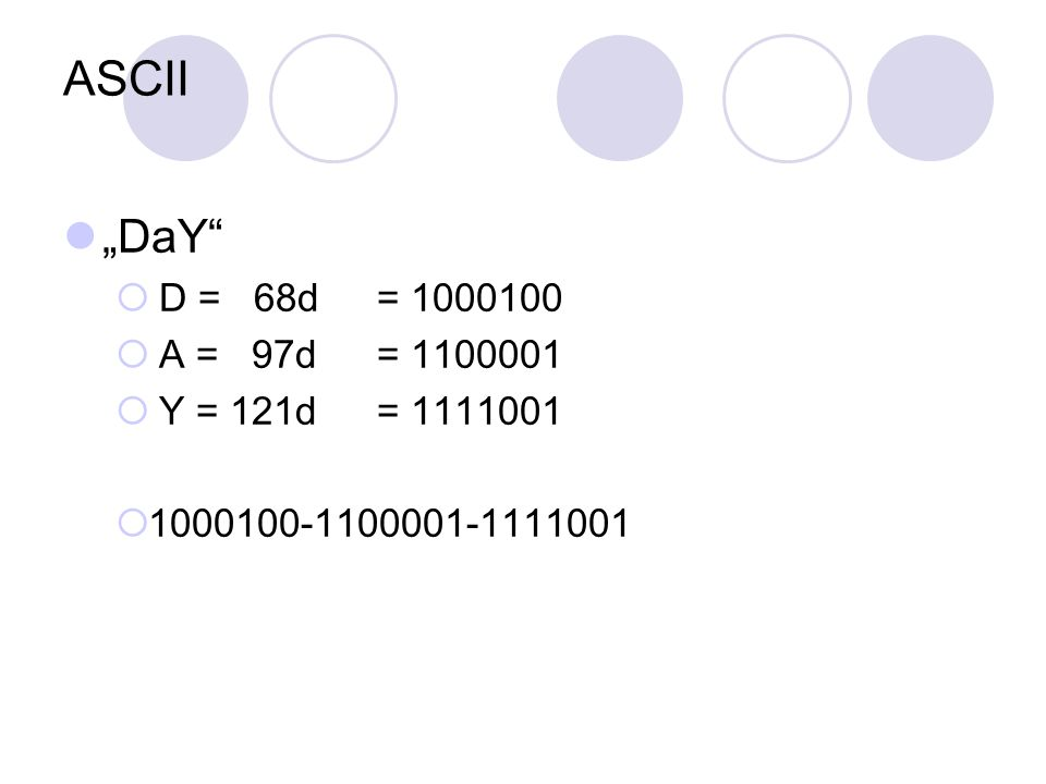 """ASCII """"DaY D = 68d = 1000100 A = 97d = 1100001 Y = 121d = 1111001"""