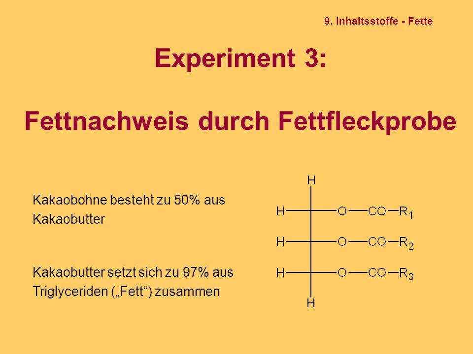 Experiment 3: Fettnachweis durch Fettfleckprobe