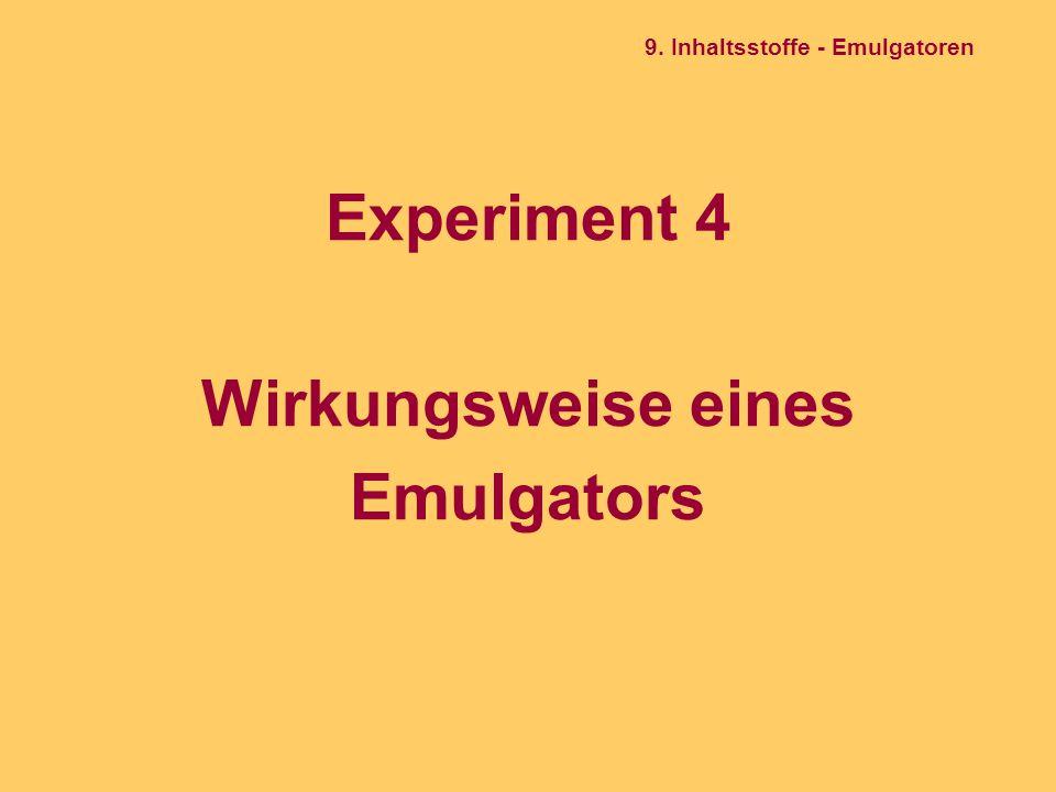 Experiment 4 Wirkungsweise eines Emulgators