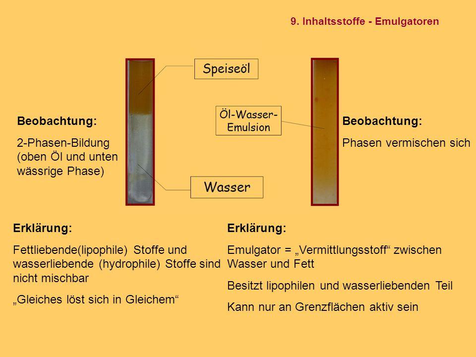2-Phasen-Bildung (oben Öl und unten wässrige Phase) Beobachtung: