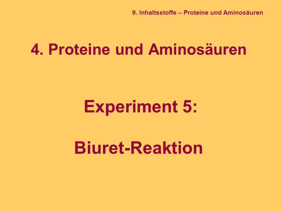 4. Proteine und Aminosäuren Experiment 5: Biuret-Reaktion