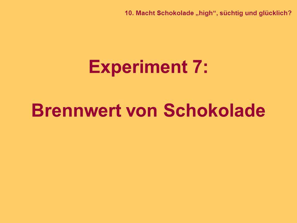 Experiment 7: Brennwert von Schokolade
