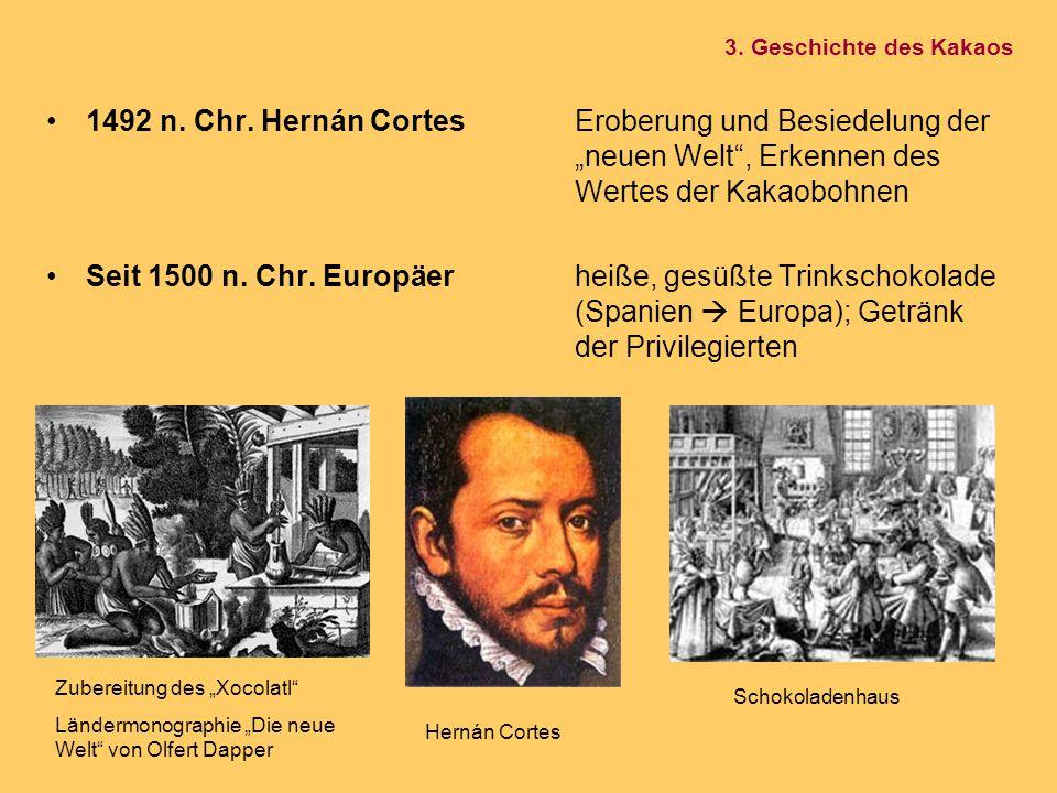 """3. Geschichte des Kakaos 1492 n. Chr. Hernán Cortes Eroberung und Besiedelung der """"neuen Welt , Erkennen des Wertes der Kakaobohnen."""