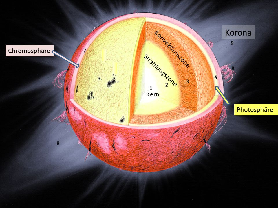Korona Chromosphäre Konvektionszone Strahlungszone Kern Photosphäre