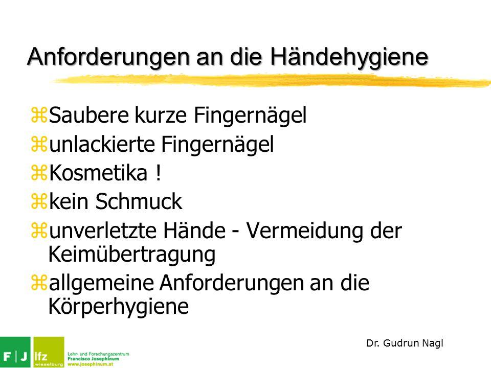 Anforderungen an die Händehygiene