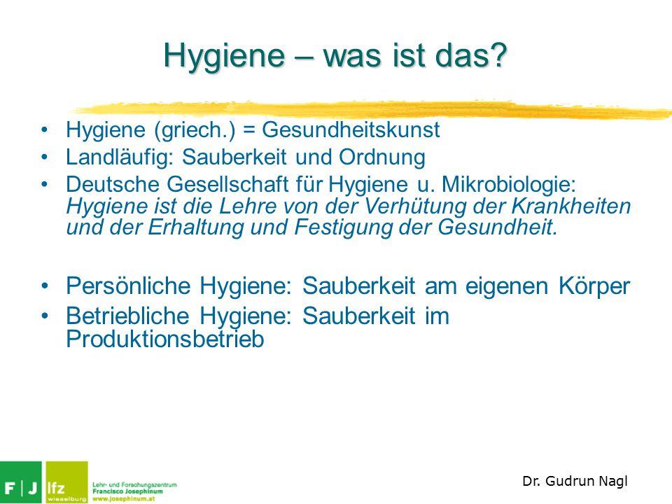 Hygiene – was ist das Hygiene (griech.) = Gesundheitskunst. Landläufig: Sauberkeit und Ordnung.