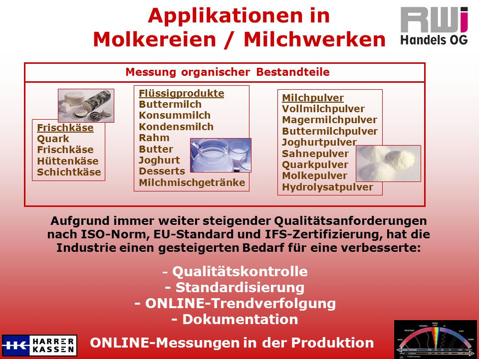 Applikationen in Molkereien / Milchwerken