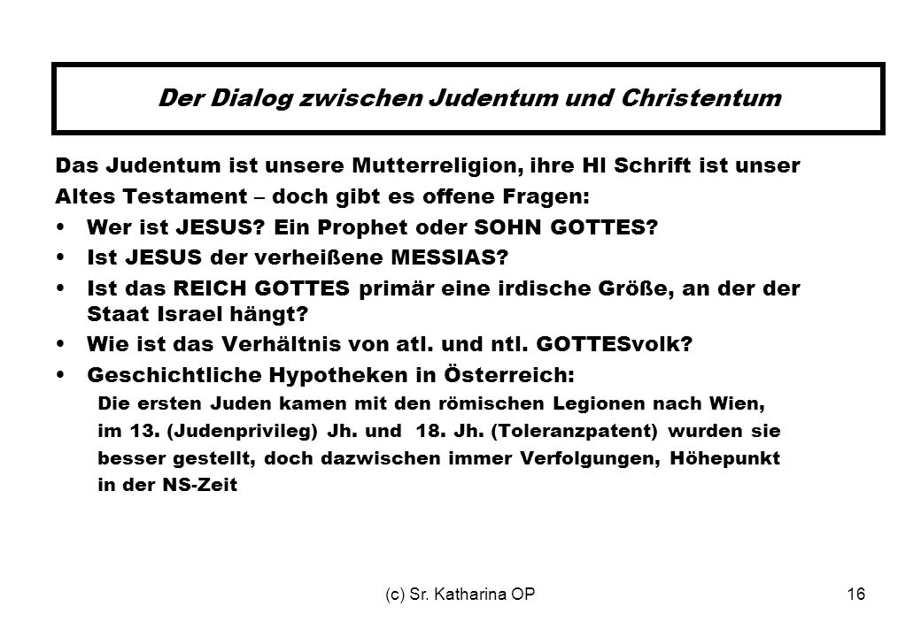 Der Dialog zwischen Judentum und Christentum