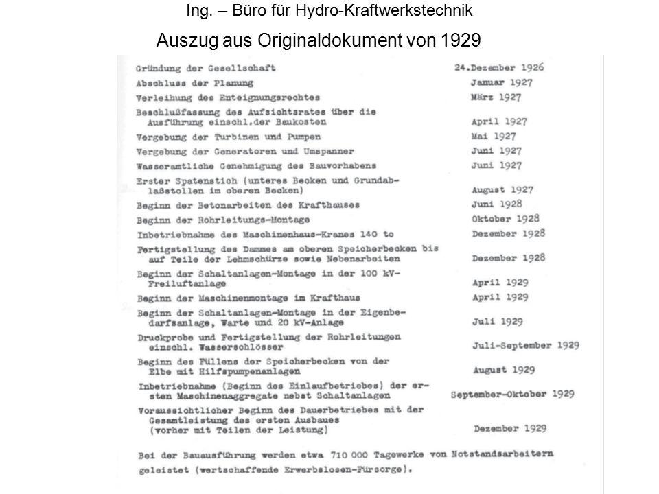 Auszug aus Originaldokument von 1929