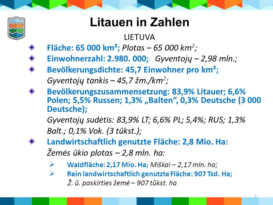 Litauen in Zahlen LIETUVA