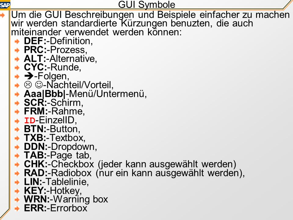 GUI Symbole