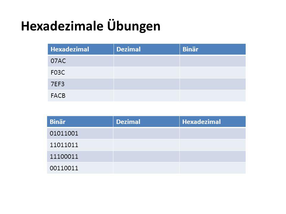 Hexadezimale Übungen Hexadezimal Dezimal Binär 07AC F03C 7EF3 FACB