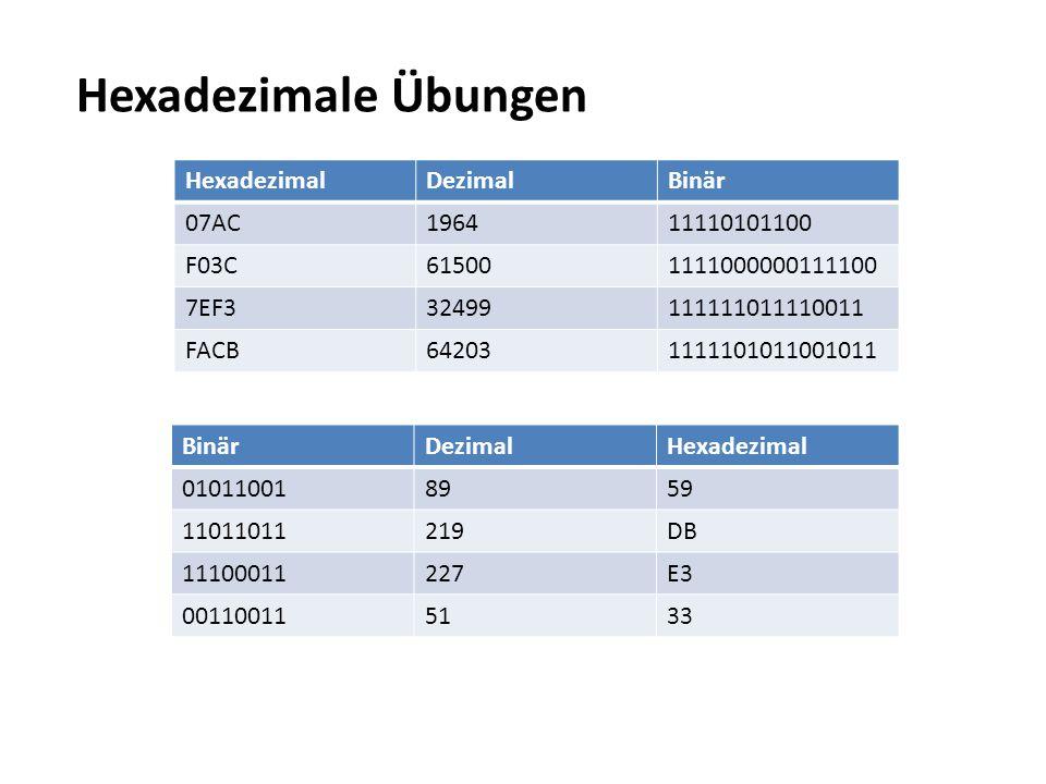Hexadezimale Übungen Hexadezimal Dezimal Binär 07AC 1964 11110101100
