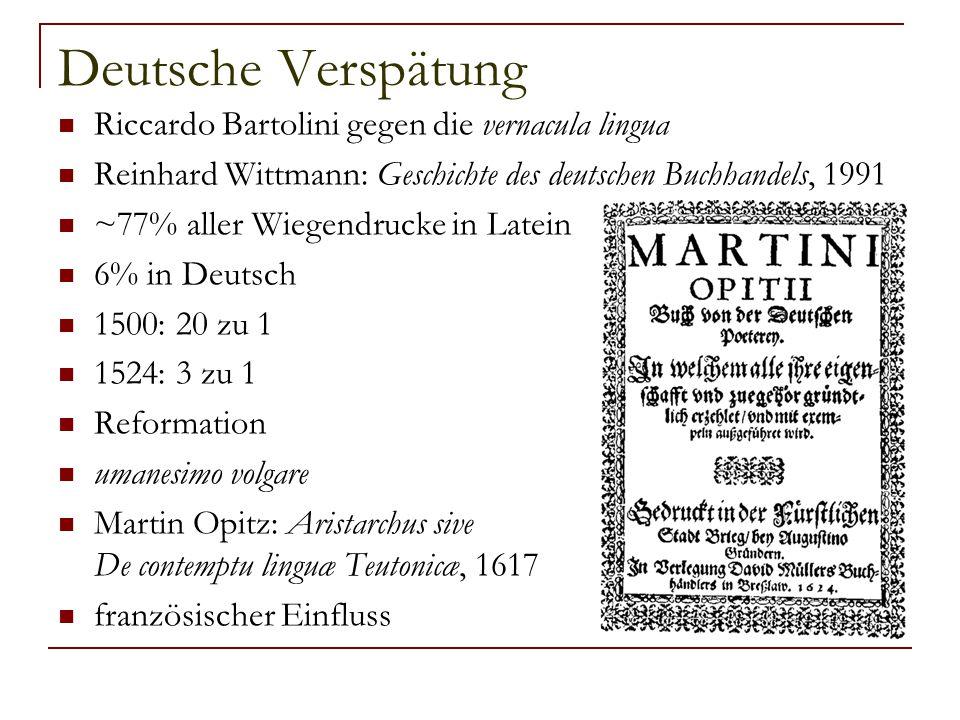 Deutsche Verspätung Riccardo Bartolini gegen die vernacula lingua