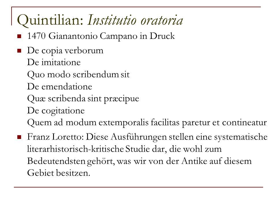Quintilian: Institutio oratoria