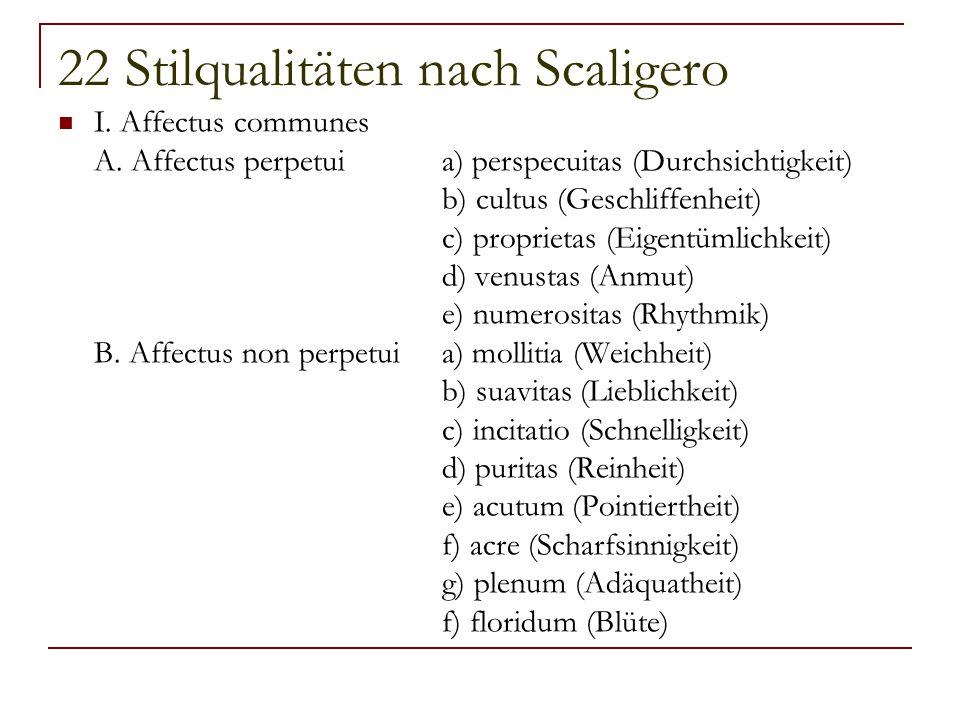 22 Stilqualitäten nach Scaligero