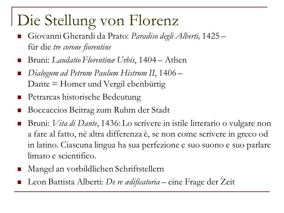 Die Stellung von Florenz
