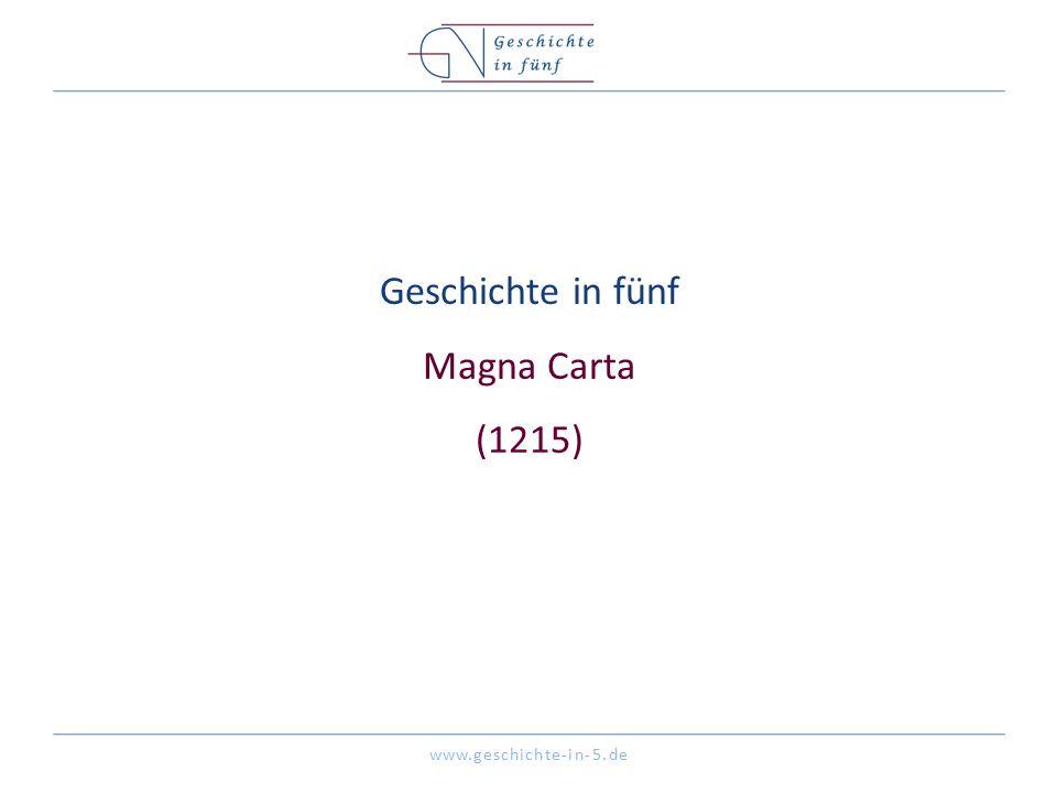 Geschichte in fünf Magna Carta (1215)