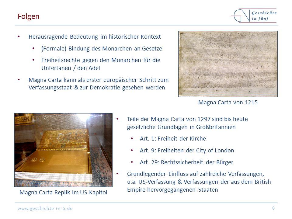 Magna Carta Replik im US-Kapitol