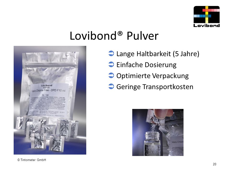 Lovibond® Pulver Lange Haltbarkeit (5 Jahre) Einfache Dosierung
