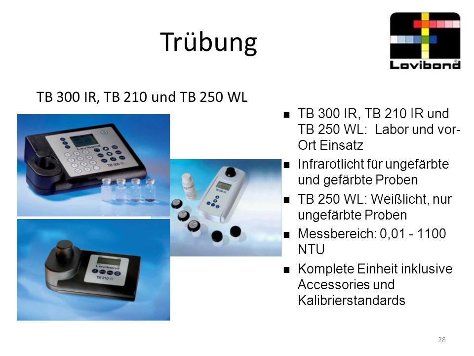 Trübung TB 300 IR, TB 210 und TB 250 WL