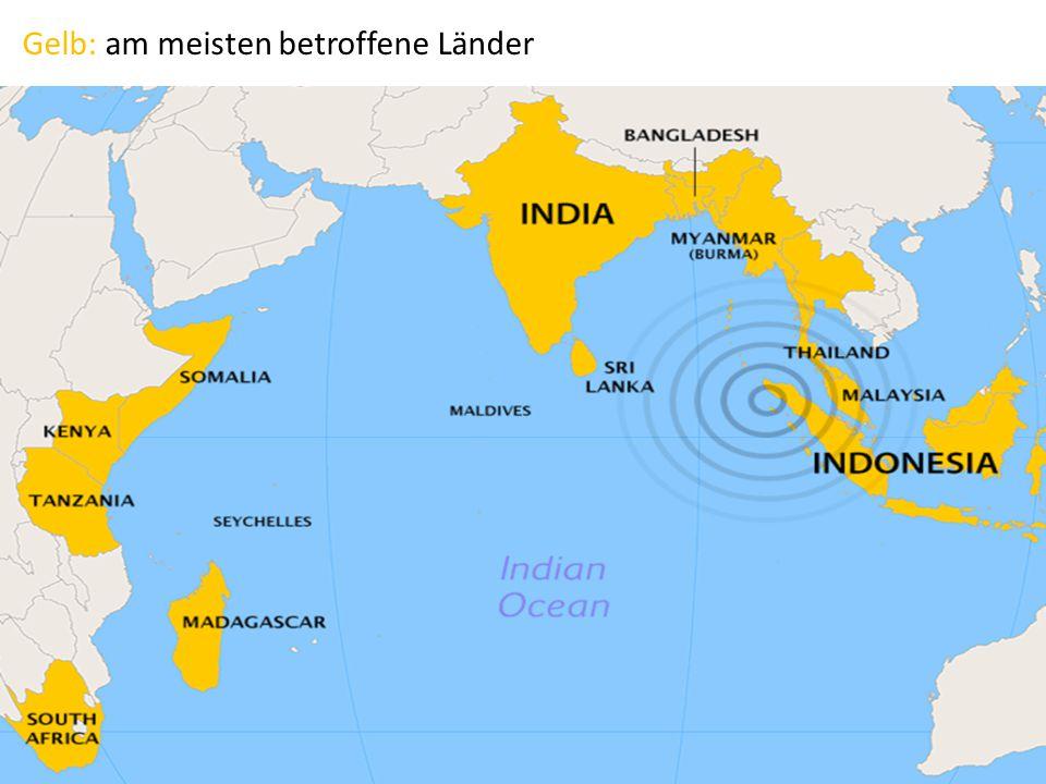 Gelb: am meisten betroffene Länder