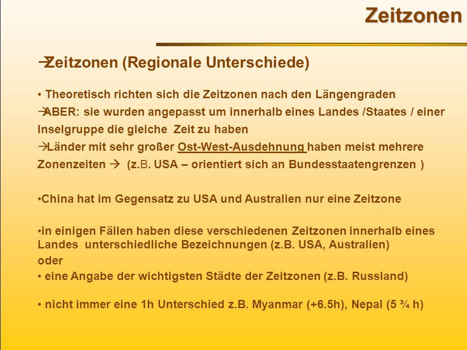 Zeitzonen Zeitzonen (Regionale Unterschiede)
