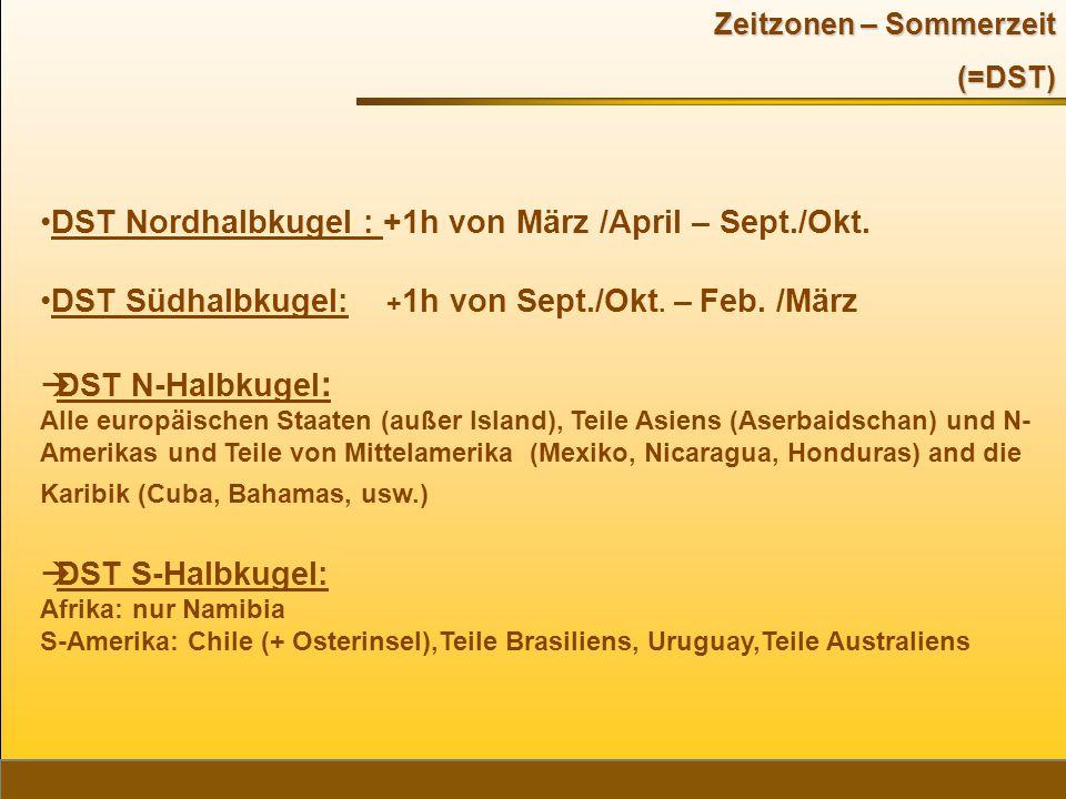 DST Nordhalbkugel : +1h von März /April – Sept./Okt.