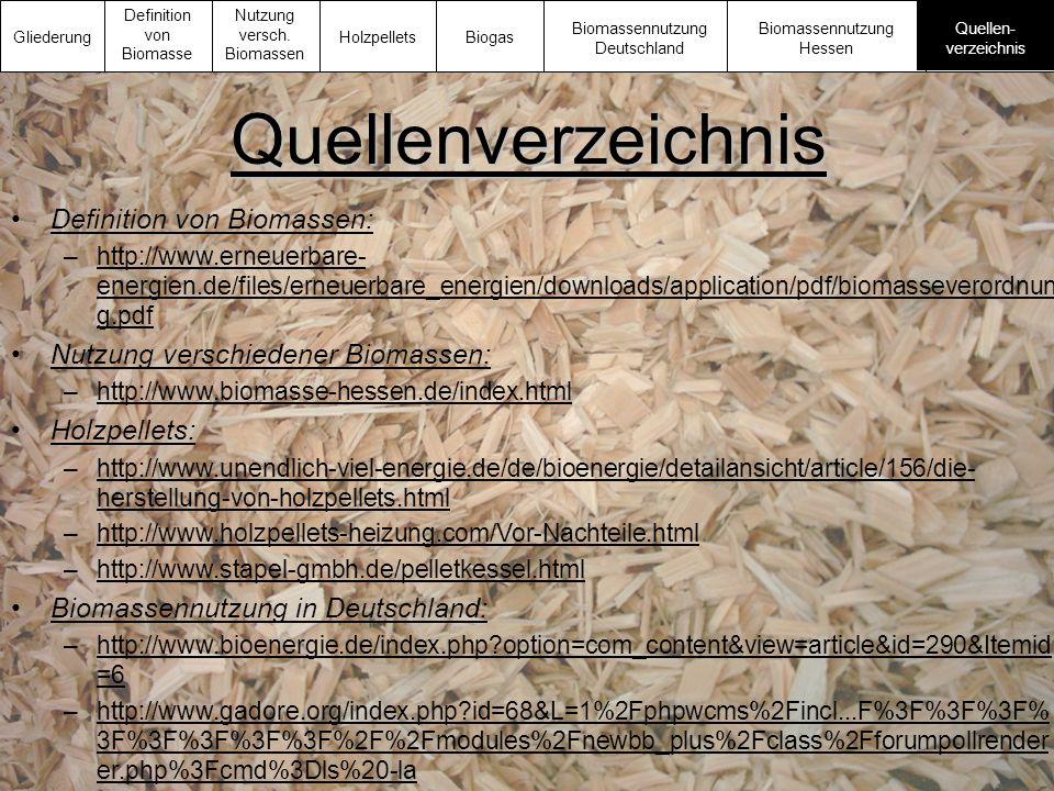 Quellenverzeichnis Definition von Biomassen: